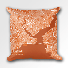 Map Throw Pillow of Istanbul Turkey - Subtle Burnt