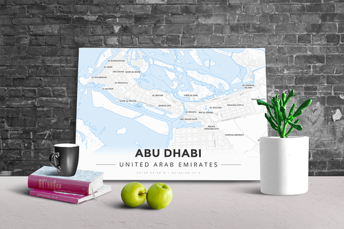 Gallery Wrapped Map Canvas of Abu Dhabi United Arab Emirates - Modern Ski Map - Abu Dhabi Map Art