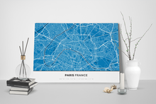 Gallery Wrapped Map Canvas of Paris France - Simple Blue Contrast