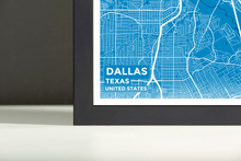 Framed Map Poster of Dallas Texas - Subtle Blue Contrast - Dallas Map Art