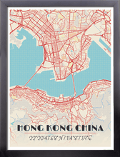 Framed Map Poster of Hong Kong China - Diner Retro - Hong Kong Map Art