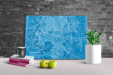 Gallery Wrapped Map Canvas of Bangkok Thailand - Subtle Blue Contrast