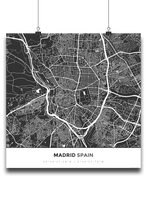 Premium Map Poster of Madrid Spain - Simple Contrast - Unframed - Madrid Map Art