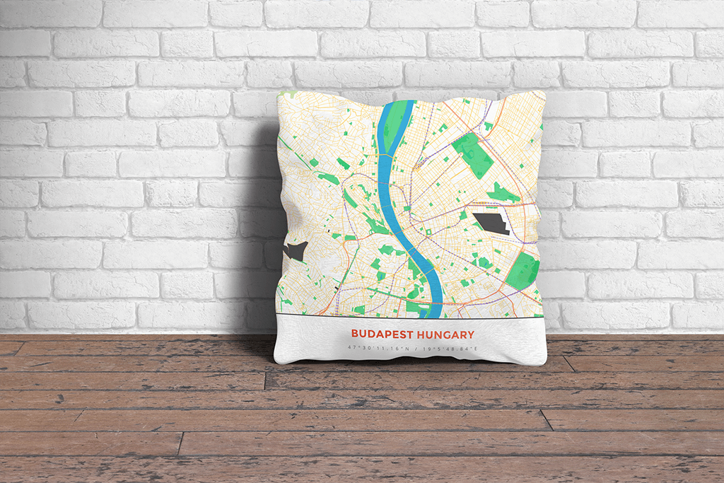 Map Throw Pillow of Budapest Hungary - Simple Colorful - Budapest Map Art