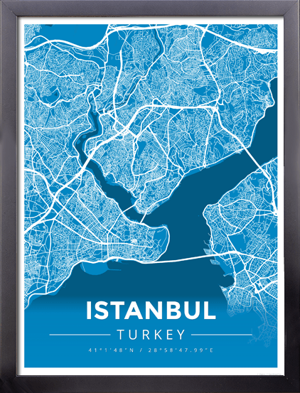 Framed Map Poster of Istanbul Turkey - Modern Blue Contrast