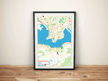Premium Map Poster of Hong Kong China - Subtle Colorful - Unframed