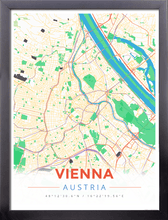 Framed Map Poster of Vienna Austria - Modern Colorful