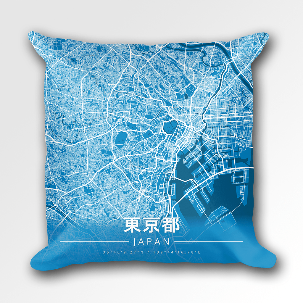 Map Throw Pillow of Tokyo Japan - Modern Blue Contrast