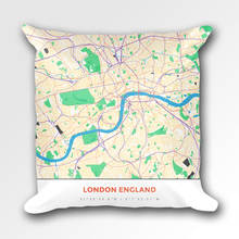 Map Throw Pillow of London England - Simple Colorful