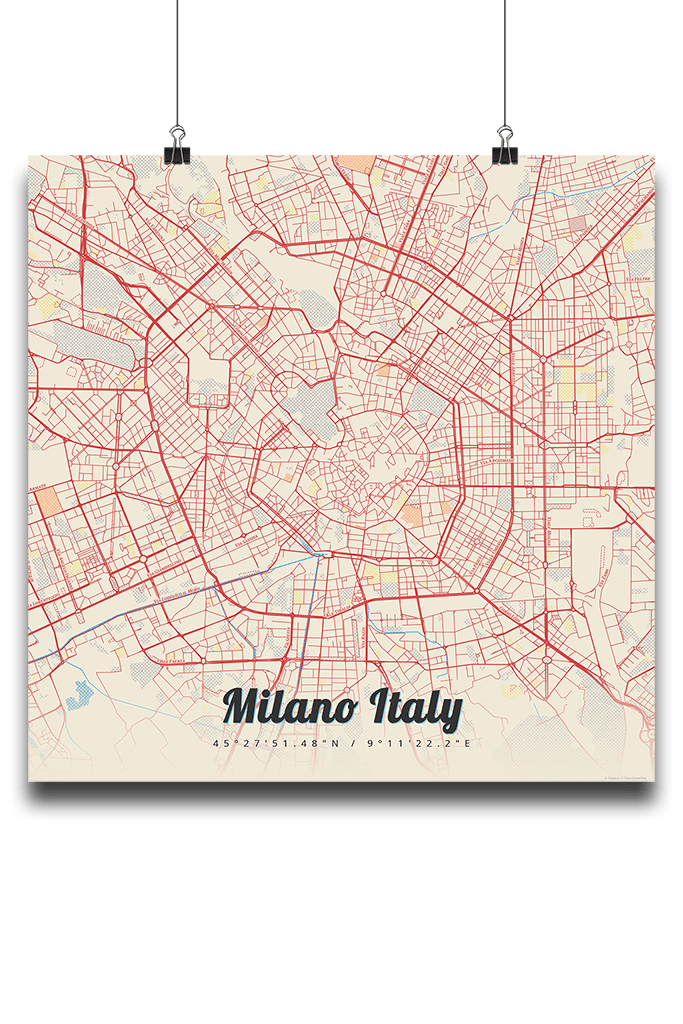 Premium map poster of milano italy map art travel decor premium map poster of milano italy lobster retro unframed milano map art gumiabroncs Image collections