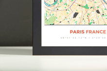 Framed Map Poster of Paris France - Simple Colorful