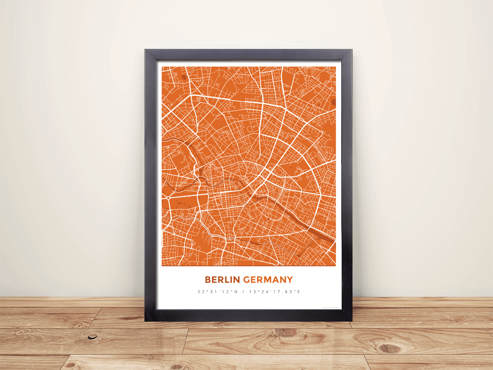 Framed Map Poster of Berlin Germany - Simple Burnt - Berlin Map Art