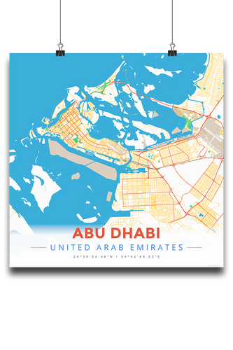 Premium Map Poster of Abu Dhabi United Arab Emirates - Modern Colorful - Unframed - Abu Dhabi Map Art