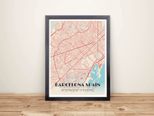 Framed Map Poster of Barcelona Spain - Diner Retro - Barcelona Map Art