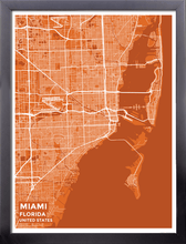 Framed Map Poster of Miami Florida - Subtle Burnt - Miami Map Art