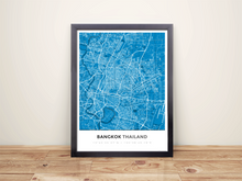 Framed Map Poster of Bangkok Thailand - Simple Blue Contrast