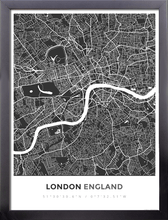 Framed Map Poster of London England - Simple Contrast