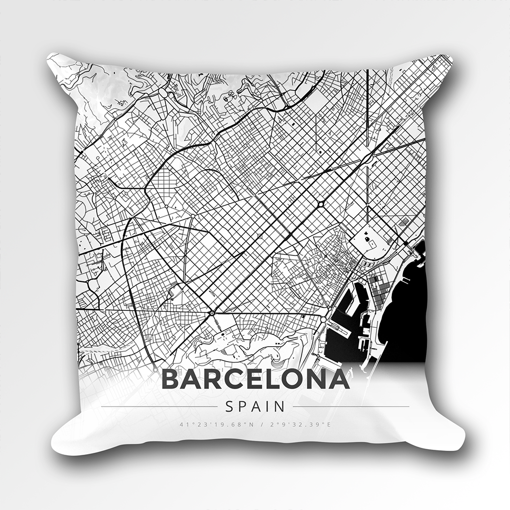 Map Throw Pillow of Barcelona Spain - Modern Black Ink