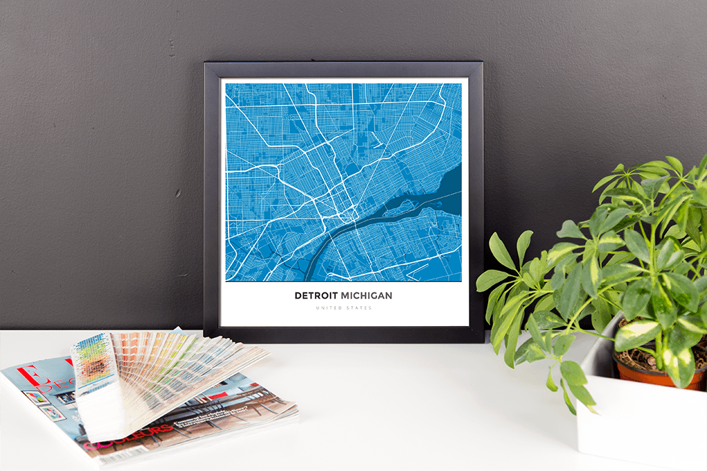 Framed Map Poster of Detroit Michigan - Simple Blue Contrast - Detroit Map Art
