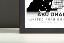 Framed Map Poster of Abu Dhabi United Arab Emirates - Modern Black Ink - Abu Dhabi Map Art
