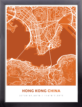 Framed Map Poster of Hong Kong China - Simple Burnt