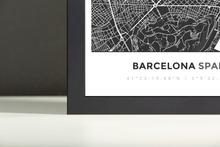 Framed Map Poster of Barcelona Spain - Simple Contrast