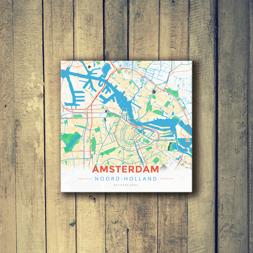 Gallery Wrapped Map Canvas of Amsterdam Noord-Holland - Modern Colorful