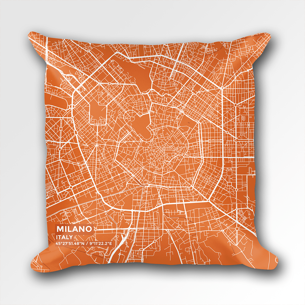 Map Throw Pillow of Milano Italy - Subtle Burnt