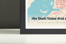Framed Map Poster of Abu Dhabi United Arab Emirates - Lobster Retro - Abu Dhabi Map Art