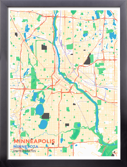 Framed Map Poster of Minneapolis Minnesota - Map Art & Travel Decor ...