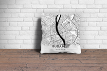 Map Throw Pillow of Budapest Hungary - Modern Black Ink - Budapest Map Art