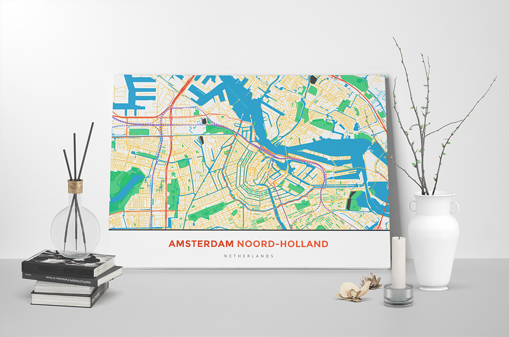 Gallery Wrapped Map Canvas of Amsterdam Noord-Holland - Simple Colorful