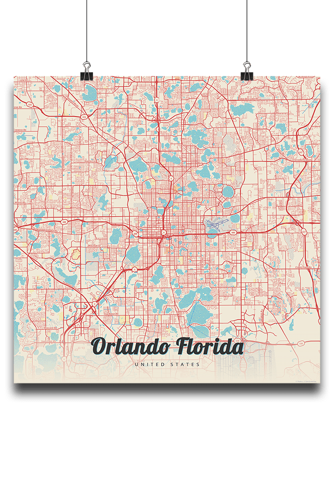 Orlando Florida On Map.Premium Map Poster Of Orlando Florida Map Art Travel Decor