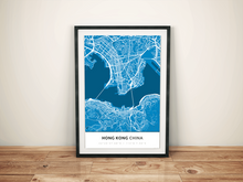 Premium Map Poster of Hong Kong China - Simple Blue Contrast - Unframed