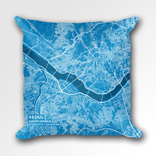 Map Throw Pillow of Seoul South Korea - Subtle Blue Contrast