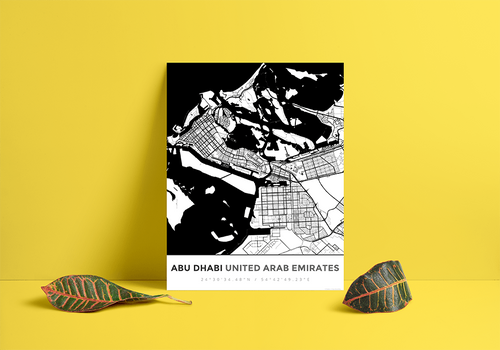 Premium Map Poster of Abu Dhabi United Arab Emirates - Simple Black Ink - Unframed - Abu Dhabi Map Art