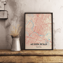 Premium Map Poster of Austin Texas - Diner Retro - Unframed - Austin Map Art