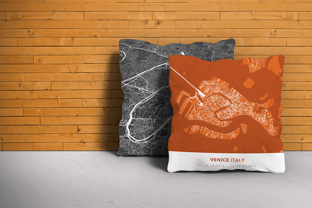 Map Throw Pillow of Venice Italy - Simple Burnt - Venice Map Art