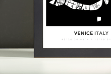 Framed Map Poster of Venice Italy - Simple Black Ink - Venice Map Art