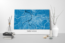 Gallery Wrapped Map Canvas of Taipei Taiwan - Simple Blue Contrast