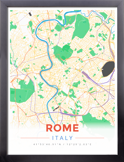 Modern Map Of Italy.Framed Map Poster Of Rome Italy Modern Colorful