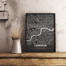 Premium Map Poster of London England - Modern Contrast - Unframed