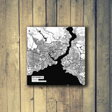 Gallery Wrapped Map Canvas of Istanbul Turkey - Subtle Black Ink