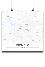 Premium Map Poster of Madrid Spain - Modern Ski Map - Unframed - Madrid Map Art