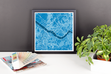 Framed Map Poster of Seoul South Korea - Subtle Blue Contrast