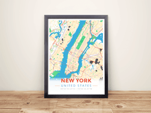 Framed Map Poster of New York United States - Modern Colorful