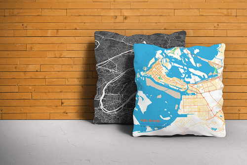 Map Throw Pillow of Abu Dhabi United Arab Emirates - Subtle Colorful - Abu Dhabi Map Art