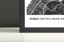 Framed Map Poster of Dubai United Arab Emirates - Simple Contrast