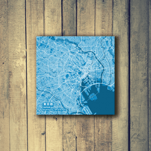 Gallery Wrapped Map Canvas of Tokyo Japan - Subtle Blue Contrast