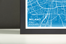 Framed Map Poster of Milano Italy - Subtle Blue Contrast